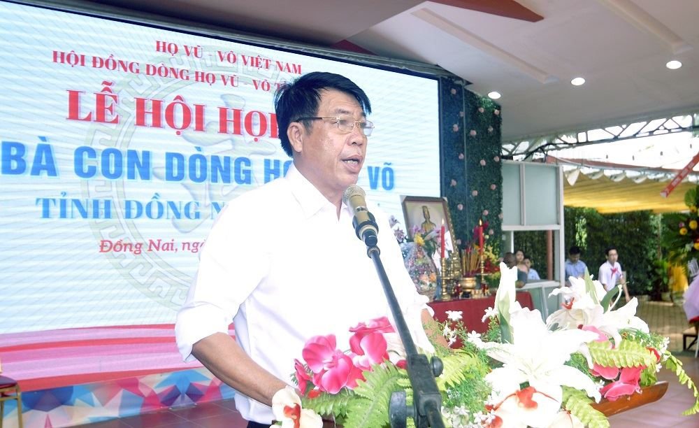 Tổng Giám đốc Vũ Văn Trường phát biểu tại lễ gặp mặt dòng họ Vũ-Võ tỉnh Đồng Nai lần thứ 4