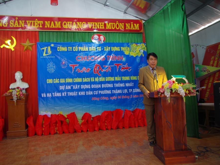 Ông Vũ Văn Trường, Chủ tịch Hội đồng quản trị kiêm Tổng Giám đốc phát biểu tại Chương trình Trao quà Tết