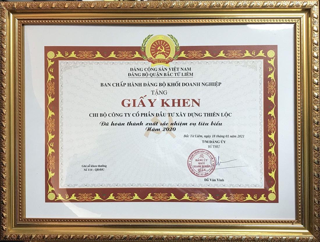 Giấy khen của Đảng bộ Khối doanh nghiệp Quận Băc Từ Liêm trao tặng cho Chi bộ Công ty Cổ phần Đầu tư Xây dựng Thiên Lộc đã hoàn thành xuất sắc nhiệm vụ tiêu biểu năm 2020